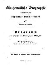 Mathematische Geographie in Verbindung mit populärer Himmelskunde für Studirende am Gymnasium