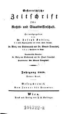 Zeitschrift f  r   sterreichische Rechtsgelehrsamkeit und politische Gesetzkunde  hrsg  von Vincenz August Wagner PDF
