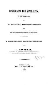 Beschouwing der kontrakten, in het jaar 1840 door het Departement van Kolonien gesloten met de Nederlandsche Handel-Maatschappij, in verband met de grondwet, de billijkheid en de algemeene belangen van het Rijk