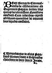 De consideratione ad Eugenium III. Pap: lib. quinque
