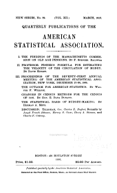 Publications of the American Statistical Association: Volume 12