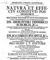 De natura et effectu constituti possessorii; praes. Joh. Christoph. Spitz