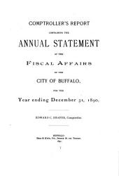 Annual Report of the Comptroller, City of Buffalo