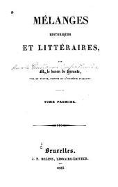 Mélanges historiques et littéraires: Volume1