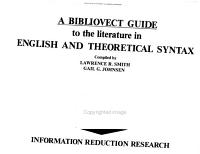 A Bibliovect Guide to the Literature in English and Theoretical Syntax PDF