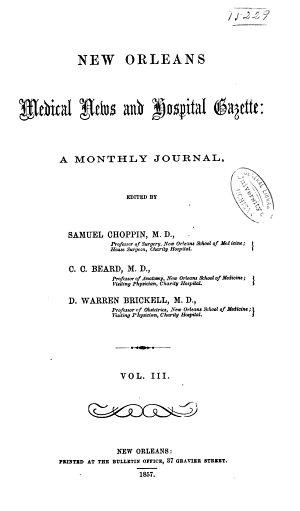 New Orleans Medical News and Hospital Gazette
