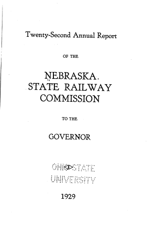 Annual Report of the Nebraska State Railway Commission to the Governor