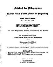 Jahrbuch des P  dagogiums zum Kloster Unser Lieben Frauen in Magdeburg PDF