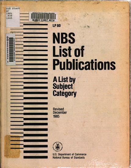 NBS List of Publications PDF
