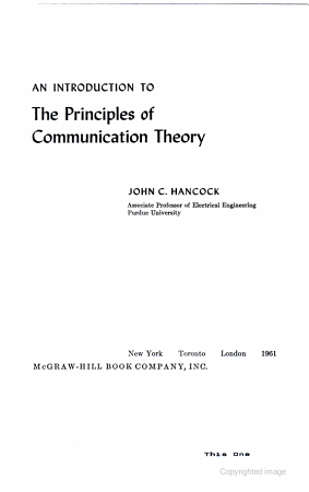 AN INTRODUCTION TO The Principles of Communication Theory PDF