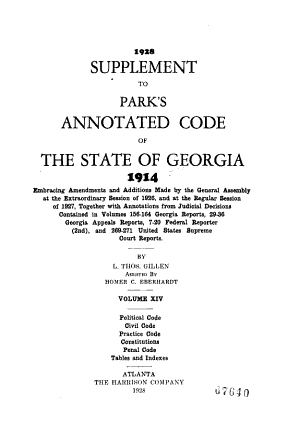 Park s Annotated Code of the State of Georgia  1914 PDF