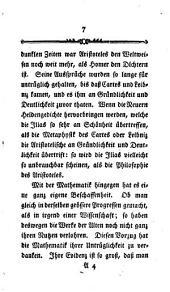 Moses Mendelssohns Abhandlung über die Evidenz in metaphysischen Wissenschaften
