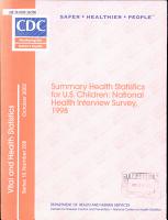 Summary Health Statistics For U S Children