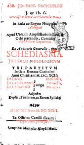 Abb. Jo. Bapt. Pacichellii ... Schediasma juridico-philologicum tripartitum in otio Romano caniculari anni Christiani 1692. De larvis [vulgo] mascheris. De capillamentis vulgo perruchis. De chirothecis [vulgo] guantis ..