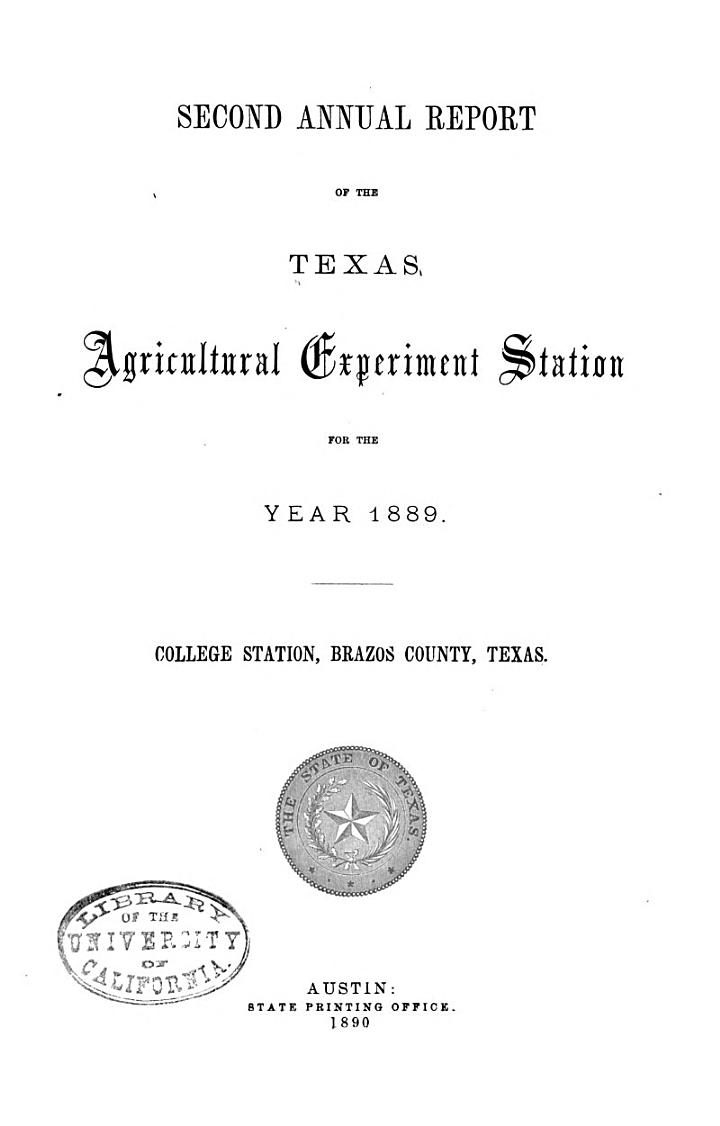 Annual Report - The Texas Agricultural Experiment Station