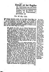Resolutie: De koopluiden en boekhouders, haar met de negotie van haring of zoute visch geneerende, ontheft van den eed op het subject van het zout [...]. 26 mey 1751