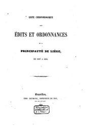 Liste chronologique des édits et ordonnances de la principauté de Liège: Volume2