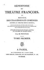 """Répertoire du Théâtre François: """"Tragédies"""""""