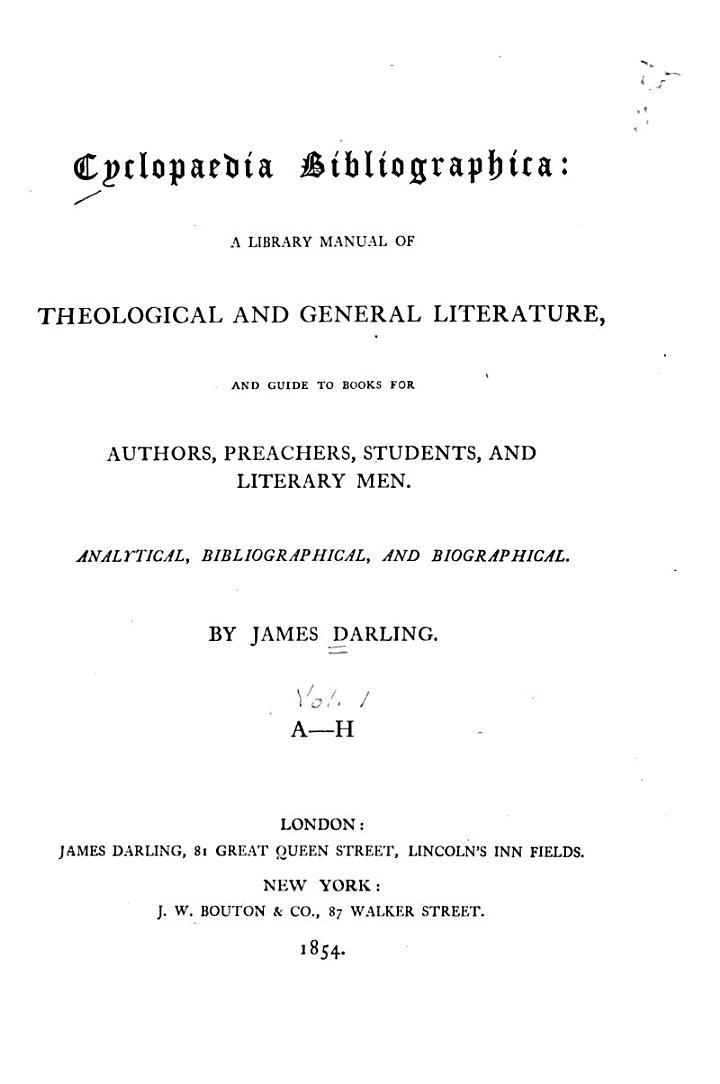Cyclopaedia Bibliographica: Authors