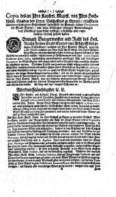 Copia des... An den Bischoffen zu Speyer erlassenen Schreibens