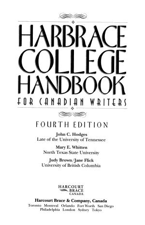 Harbrace College Handbook for Canadian Writers