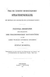 Über die ältesten hochfränkischen sprachdenkmäler: ein beitrag zur grammatik des althochdeutschen
