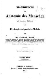 Handbuch der Anatomie des Menschen: Band 2,Ausgabe 2
