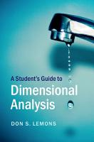 A Student s Guide to Dimensional Analysis PDF