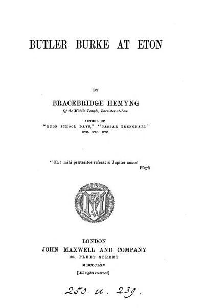 Download Butler Burke at Eton Book