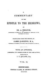 A Commentary on the Epistle to the Hebrews: Volume 2