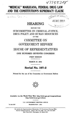 HEARING BEFORE THE SUBCOMMITTEE OM CRIMINAL JUSTICE DRUG POLICY AND HUMAN RESOURCES OF THE COMMITTEE ON GOVERNMENT REFORM HOUSE OF REPRESENTATIVES  PDF
