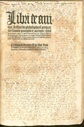 Libri de anima, Aristotelis philosophoru[m] peripatetice familie principis et auctoris: nedu[m] per tractatus, capita et capitu[m] sectiones siue partes, studiose distincti, ... in margine numeroru[m] figuris signata ... diuisi, Accurata preterea castigatione reuisi