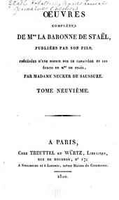Oeuvres complètes de Mme la baronne de Staël ...