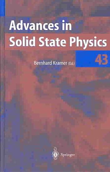 Advances in Solid State Physics PDF