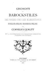 Geschichte des barockstiles, des rococo, und des klassicismus in Belgien, Holland, Frankreich, England