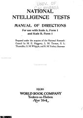 National Intelligence Tests; Manual of Directions for Use with Scale A, Form 1- and Scale B, Form 1-
