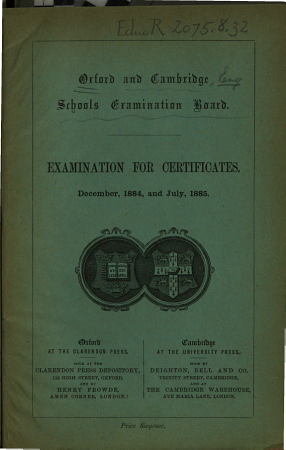 Examination for Certificates  list of Candidates  Etc    PDF