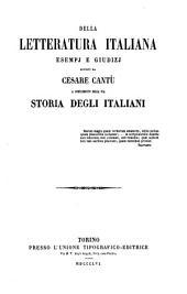 Della Letteratura Italiana, esempj e giudizj a complemente della storia degli italiani