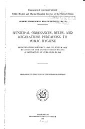 Municipal Ordinances and Regulations Pertaining to Public Health ...