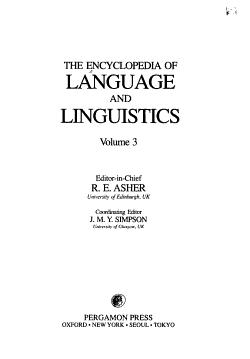 The Encyclopedia of Language and Linguistics PDF