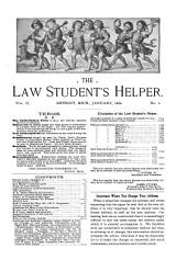 The Law Student's Helper: A Monthly Magazine for the Student in and Out of Law School, Volume 2
