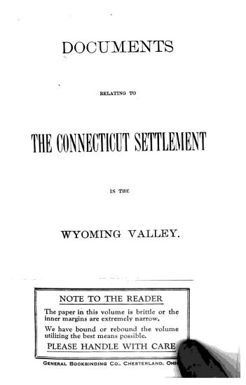 Documents Relating to the Connecticut Settlement in the Wyoming Valley PDF