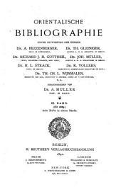 Orientalische Bibliographie: Band 3