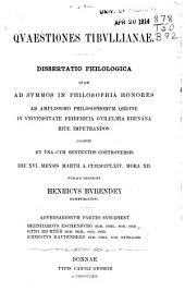 Quaestiones Tibullianae: Dissertatio philologica