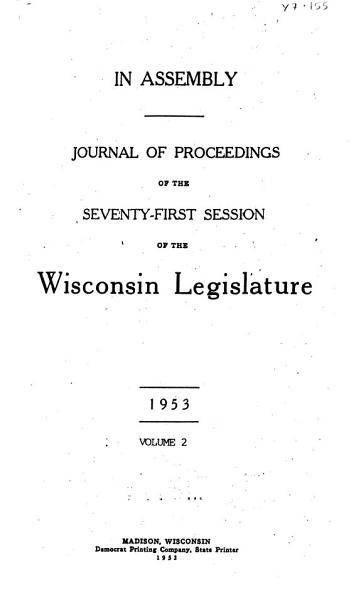 Journal of Proceedings of the     Session of the Wisconsin Legislature PDF
