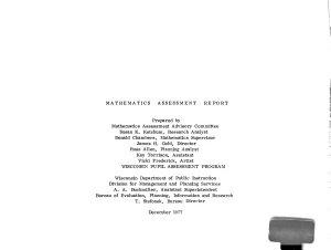 Mathematics Assessment Report  Spring 1977