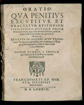 Oratio qua penitus excutitur kritērion certitudinis historiae biblicae et sacrae