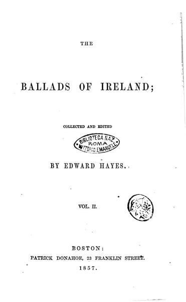 Download The Ballads of Ireland Collected and Edited by Edward Hayes Book
