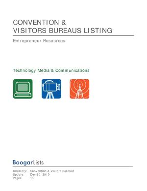 BoogarLists   Directory of Convention Bureaus PDF