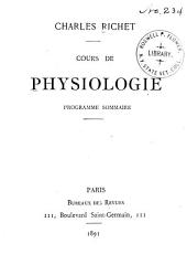 Cours de physiologie: programme sommaire